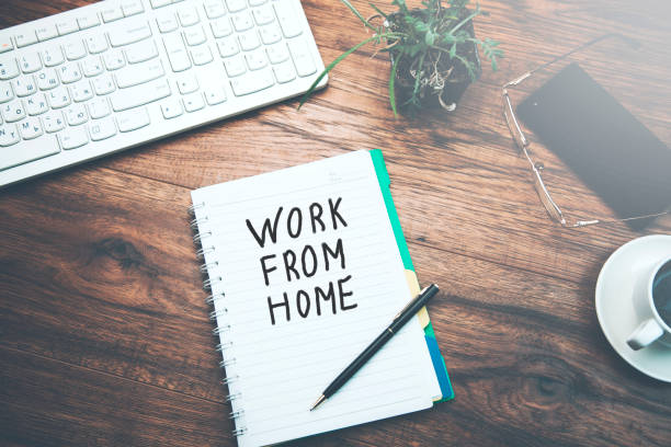 notebook written work from home text and keyboard on table