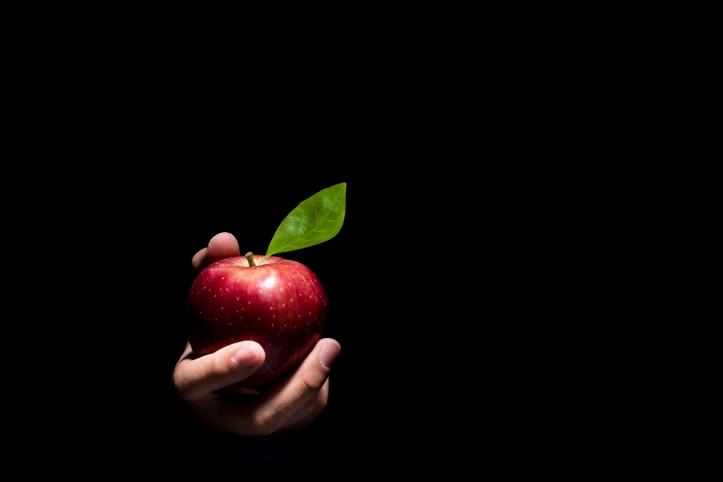 Hand offering an apple.